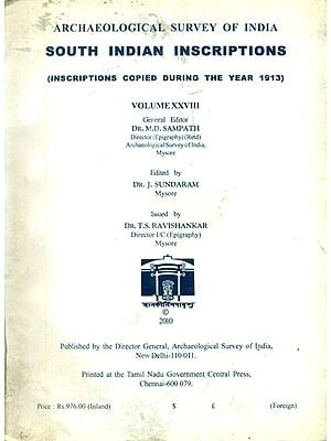 South Indian Inscriptions (Vol-XXVIII) (An Old Book)