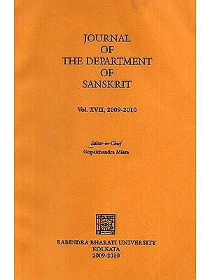 Journal of The Department of Sanskrit- Volume 17, 2009-10