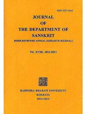 Journal of The Department of Sanskrit- Volume 18, 2012-13