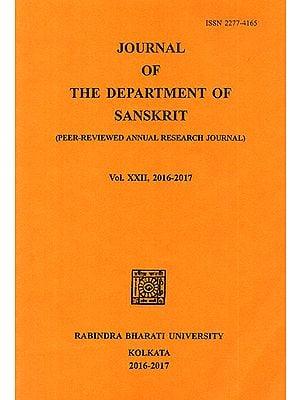 Journal of The Deparment of Sanskrit- Volume 22, 2016-17