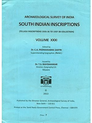 South Indian Inscriptions - Telugu Inscriptions 1935-36 to 1937-38 Collection (An Old and Rare Book)