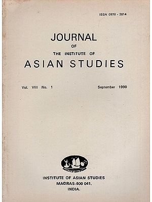 Journal of The Institute of Asian Studies- Vol. VIII, No. 1- September 1990 (An Old and Rare Book)