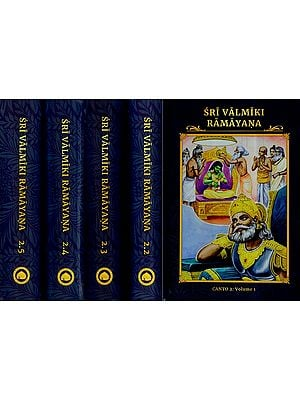 Sri Valmiki Ramayana- Ayodhya Kanda, Notes Based on Four Ancient Commentaries (Set of 5 Volumes)