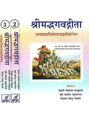 श्रीमद्भगवद्गीता: Shrimad Bhagvad-Gita With Eight Commentaries (Set  of 3 Volumes)