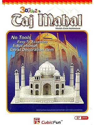 3 D Puzzle: Taj Mahal World's Great Architecture (No Tools Easy to Assemble Educational Great Decoration Item) (87 Pcs)
