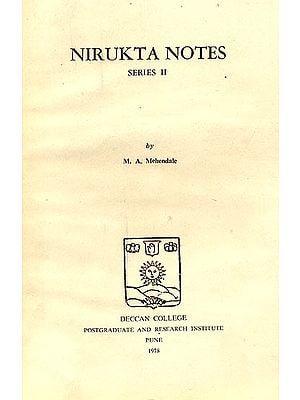 Nirukta Notes (Series II): A Rare Book