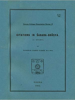 Citations in Sabara-Bhasya (A Study)