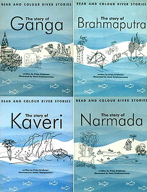 Read and Colour River Stories (The Story of Ganga, Brahmaputra, Kaveri, Narmada) (Set of 4 Books)
