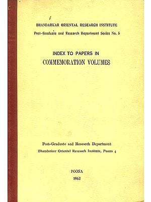Index to Papers in Commemoration Volumes (An Old and Rare Book)