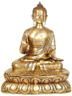 Large Size Buddha on Double Lotus Pedestal
