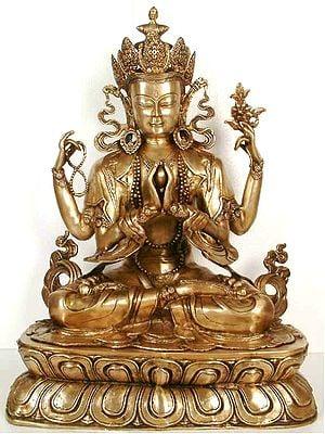 Large Size Chenresig, or the Four-Armed Avalokiteshvara (Tibetan Buddhist Deity)