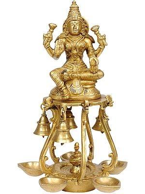 Auspicious Lakshmi Lamps with Bells