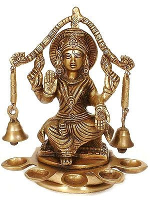 Goddess Lakshmi with Bells and Five Auspicious Lamps