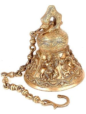 Hanging Ritual Bell with Six Auspicious Images of Lord Krishna