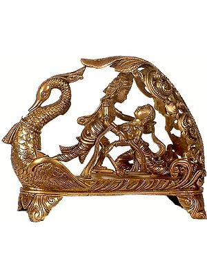 Radha & Krishna Sport on a Swan Throne