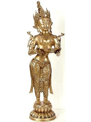 Tibetan Buddhist Goddess Tara with Lamp