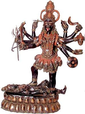 Large Size Ten-Armed Black Kali, or Mahakali