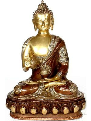 The Blessing Buddha with Ashtamangala Carved on His Robe