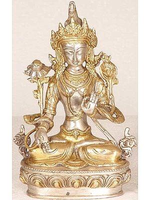 Tibetan Buddhist Goddess White Tara in Golden Attire