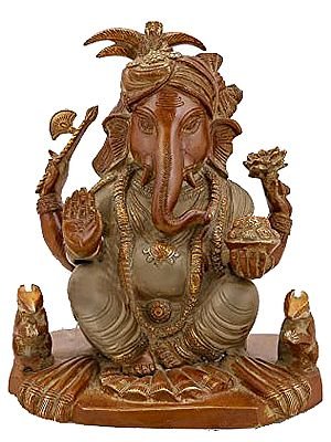 Seated Ganesha, Flanked By Two Mice