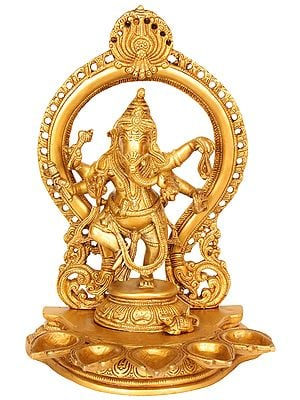 Dancing Ganesha with Five Lamps