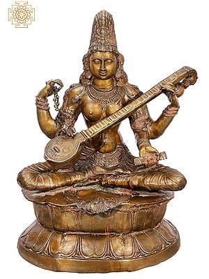 Large Size  Kamalasana – Lotus-Seated Saraswati