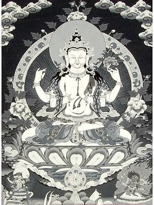 Tibetan Buddhist Chenrezig in Black and White