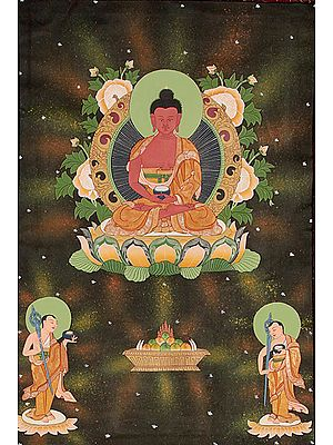 Buddha in the Dhyana Mudra with His Two Disciples (Tibetan Buddhist)
