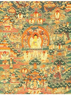 Gautam Buddha and Scenes from His Life - Tibetan Buddhist