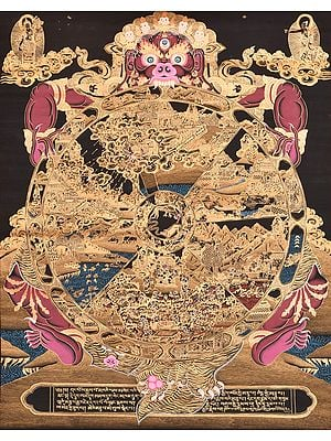 Large Size Tibetan Buddhist Bhavachakra of Human Life (The Wheel of Life)