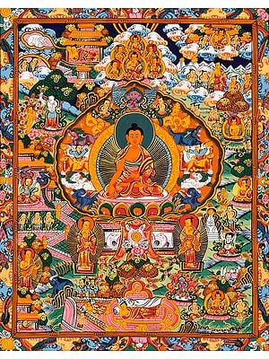 Gautam Buddha with Scenes from His Life (Tibetan Buddhist)