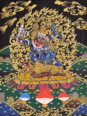 Dharmaraja Yama with Yami (Tibetan Buddhist)