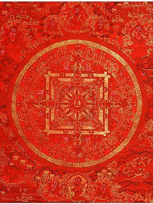 Red Mandala of Tibetan Buddhist Deity Gautam Buddha