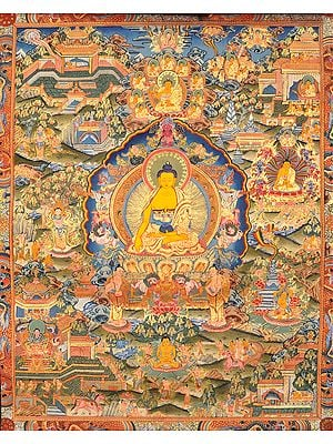 (Tibetan Buddhist) Gautam Buddha with Scenes from His Life