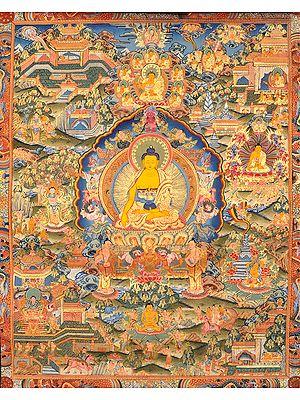 (Tibetan Buddhist) Gautam Buddha with Scenes from His Life
