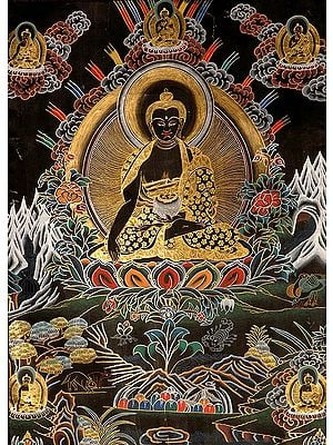 The (Tibetan Buddhist) Buddha Shakyamuni with Five Dhyani Buddhas (Black Thangka)