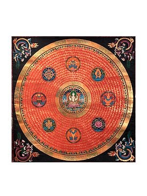 Mandala of Tibetan Buddhist Deity  Chenrezig with Ashtamangala