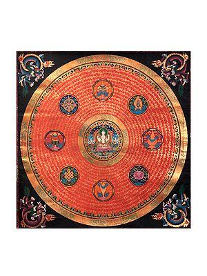 Mandala of Tibetan Buddhist Deity  Chenrezig with Ashtamangala