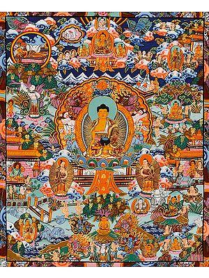 The Buddha Shakyamuni and Scenes from His Life (Tibetan Buddhist)
