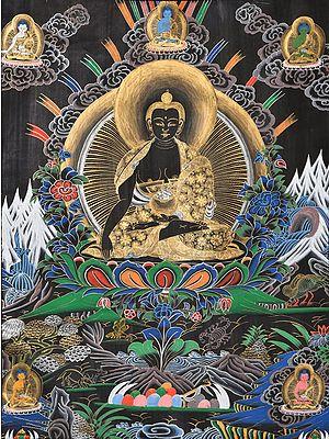 Tibetan Buddhist Lord Shakyamuni Buddha in Bhumisparsha Mudra with Five Dhyani Buddhas (Large Size)