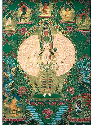Thousand Armed Avalokiteshvara with Five Dhyani Buddhas - Tibetan Buddhist