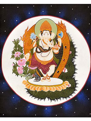 Ganesha Dancing Against Moon
