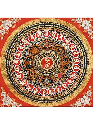 OM Mandala with Ashtamangala Symbols