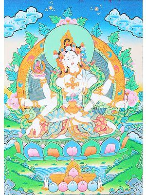 Tibetan Buddhist Vasudhara - Goddess of Good Luck and Knowledge