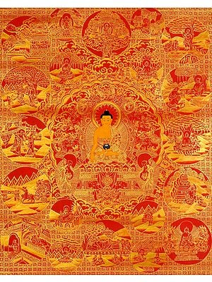 Gautama Buddha and Scenes from His Life (Tibetan Buddhist)
