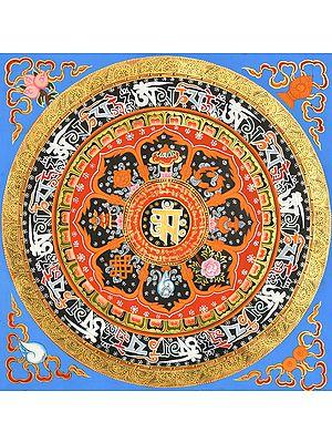 Tibetan Buddhist OM Mandala with Ashtamangala Symbols