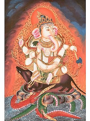 Shadbhuja Ganesha Seated on a Rat with Snakes as Dragons