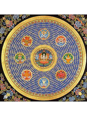 Large Chenrezig Mandala with Ashtamangala (Tibetan Buddhist)