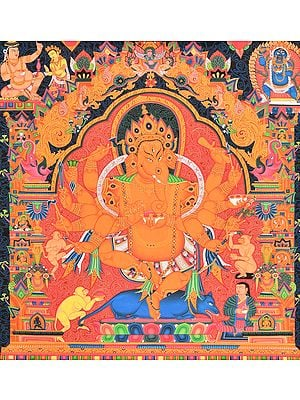 Dadashabhujadhari Nrtya Ganesha (Newari Thangka)