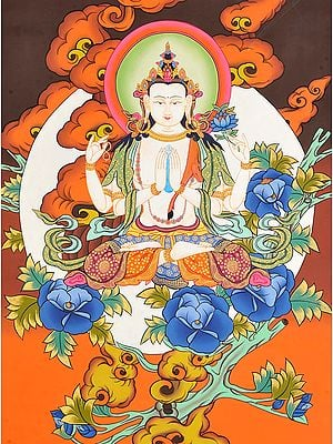Sadakshari Lokeshvara In The Lap Of The Moon (Tibetan Buddhist Deity)